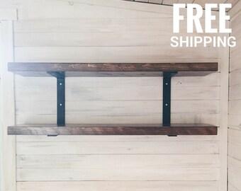 Modern Wood Shelf   Reclaimed Wood Shelves   Metal Shelving Unit   Free shipping