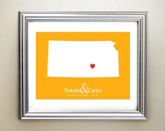 Kansas Custom Horizontal Heart Map Art - Personalized names, wedding gift, engagement, anniversary date