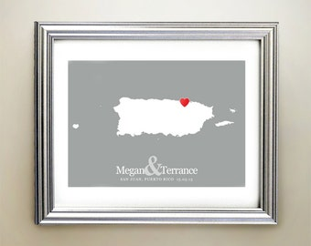 Puerto Rico Horizontal Heart Map Art - Personalized names, wedding gift, engagement, anniversary date
