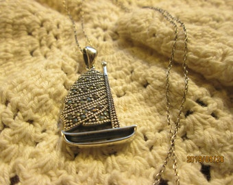 Genuine Marcasite 925 Sterling Silver Full Sail Boat Pendant, Wt. 5.6 Grams