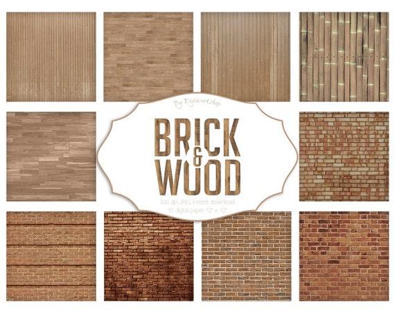 Brick And Wood Digital Paper Quot Brick Amp Wood Quot Brick