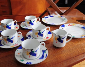 Early 90s Christopher Stuart fine china/ #Y0241 Calypso edition/ 13 piece/ Vibrant colors!