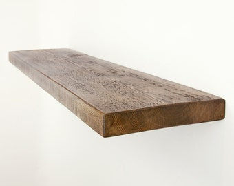 Floating Shelf made from Chunky Solid Wood in our Rustic Range with a Choice of Different Wax Finishes and Sizes 9x1.5
