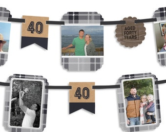Aged to Perfection - 40th Milestone Birthday - Birthday Party Photo Garland Banner