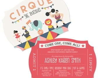 Circus / Carnival Invitations - Vintage Circus Invites - Printed Circus Baby Shower Party Invite - Set of 12