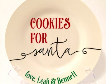 Personalized Cookies for Santa Plate / Christmas Plate