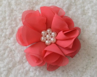 "2.5"" Chiffon Flower Heads, Wholesale Pearl Hair Flowers for Flower Head Bands, Embellishment, Lot of 1, 2, 5 or 10, Coral"