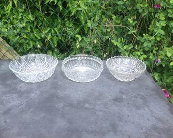 Vintage Large Pressed Glass Serving Bowls. 1950's.