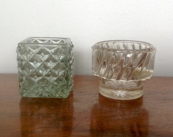 Small Pressed Glass Pots. Toothpick Holders/ Condiment Pots. 1950's