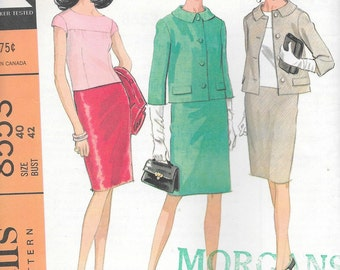 Vintage 1960s McCall's Sewing Pattern 8553- Women's Suit and Overblouse size 40 bust 42 uncut
