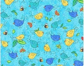 Up and Away- 4827-61 - Multi Color Birdies and Bees on Aqua Blue muted Background  by Cheri Strole for Northcott- 1 Yard