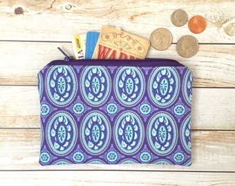 SALE!! Lovely Purple Medallion Print Coin Purse, Zipper Pouch, Zip Pouch, Coin Pouch, Zipper Wallet
