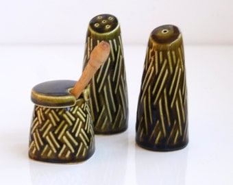 Lord Nelson Pottery Vintage Condiment set, salt, pepper, mustard.  Kitchen Storage / Container Made In England