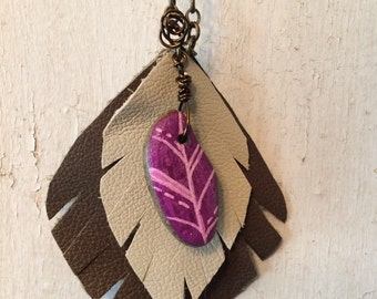 Purple faux feather stone and leather pendant necklace