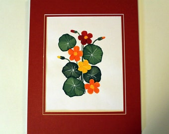 Nasturtium Painting, Original Painting, Flower Painting, Acrylic Painting, 8x10 Matted Painting, Original Art, Flower Decor, Flower Art