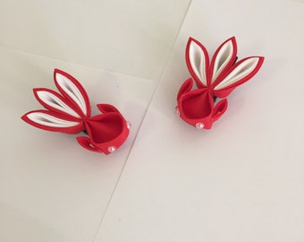 Handmade Japanese Kanzashi Red Goldfish A Pair
