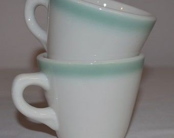 SET of 2 - Aqua Green Shenango China Coffee Cup - White China with Aqua Airbrushed Rim - Vintage Restaurant Ware - Railroad China