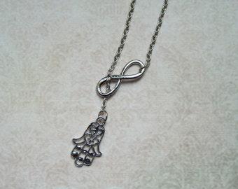 """Silver chain infinity & hand of Fatima """"Hamsa"""""""