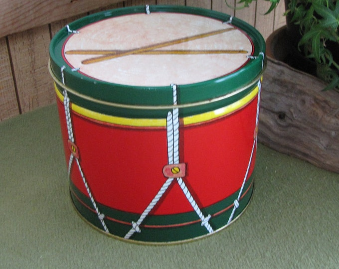Vintage Drum Tin by Market Square Food Company 1986