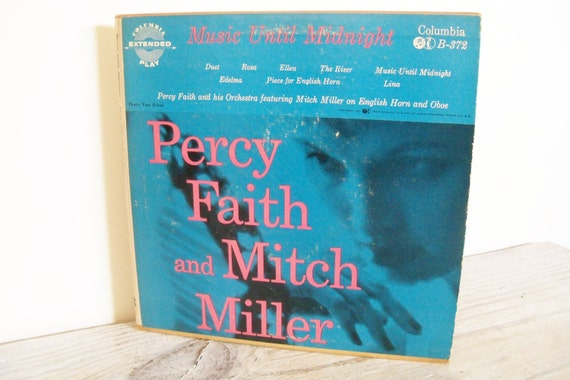 Music Until Midnight Mitch Miller & Percy Faith Vintage Record Columbia Records 2 Record Set 1950s B372