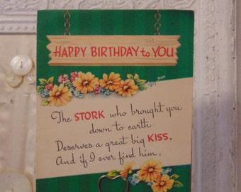 Stork Birthday Card Unused Envelope 1950's Stork 1st Prize Art Guild