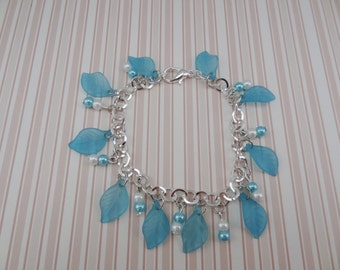 Turquoise Blue Leaves with Pearls on Silver Plated Chain Bracelet - Ready to Ship
