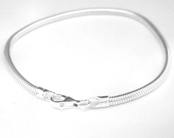 Italian 925 Sterling Silver, 8 Inch Snake Chain Bracelet for European Style and Large Hole Beads