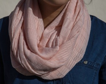 Sheer Blush Striped Pattern Infinity Scarf