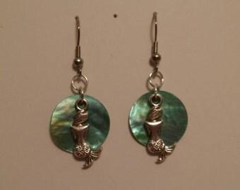 Mermaid earings, gift for her , hook earrings, drop earrings, dangle earrings, charm and tibetan silver