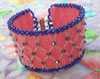 Embellished Pink and Purple Peyote Bracelet.