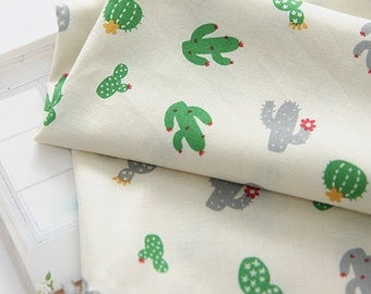 Cactus Pattern Green Color Cotton Fabric by Yard