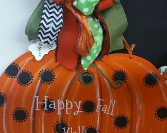 Pumpkin wooden handcrafted fall door hanger