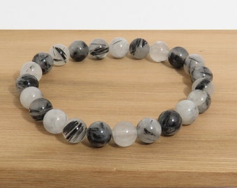 Tourmalinated Quartz Bracelet, 8 mm, Rutilated Quartz, Black and White Stone Bracelet, Guys Bracelet, Gals Bracelet