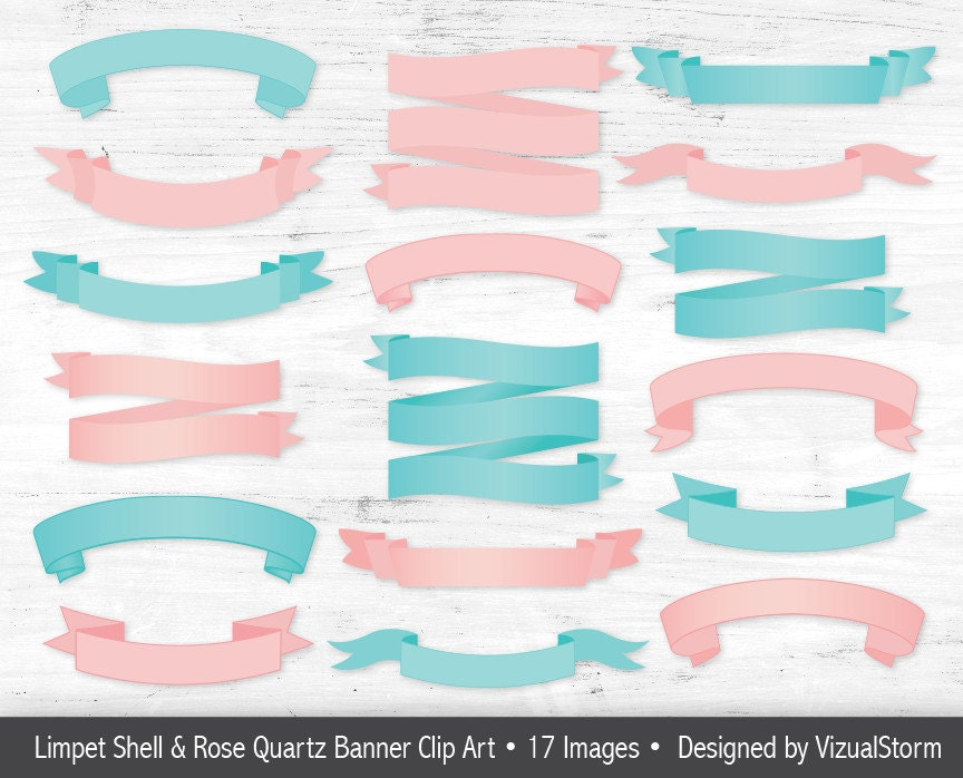 Pink Teal Banner Clipart Blank Banner Graphics Pink Blue