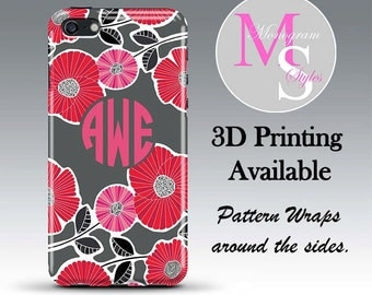 Monogram iPhone Case Personalized Phone Case Cheery Blossoms Vera Inspired Monogrammed Case Iphone 4, 4S Iphone 5 5C iPhone 6, 6S Plus #2674