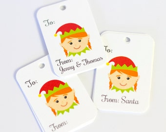 Christmas Tags, 36 Christmas Tags, Elf Christmas Gift Tags (RR-110)