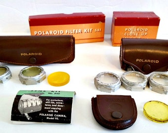 Vintage Polaroid Camera close up and filter kit. camera accessories and lenses, photographers gift