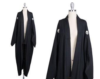 Vintage 1970s kimono // 70s black silk robe