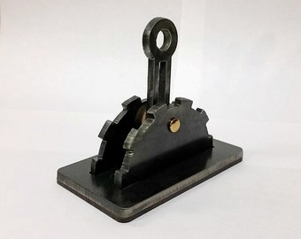 Steampunk light switch cover with lever. Steel. Functional Industrial Age art