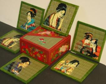 Set of Six Beautiful Vintage Japanese Geisha Coasters
