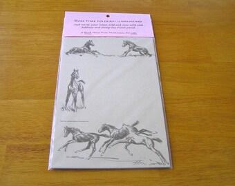 Horses Sam Savitt Note Cards, Horse Note Cards, Foal Time Folders Savitt, Horse Stationery, Black Horse Press Foal Time Folder Note Cards