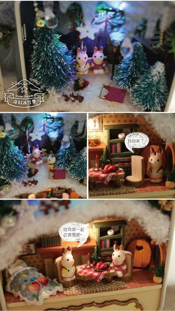 Diy do it yourself dollhouse miniatures craft kit rabbit for Treehouse kits do it yourself