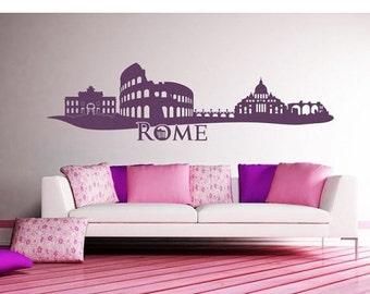 Hot Summer Sale - 20% OFF Rome Skyline wall decal, sticker, mural, vinyl wall art