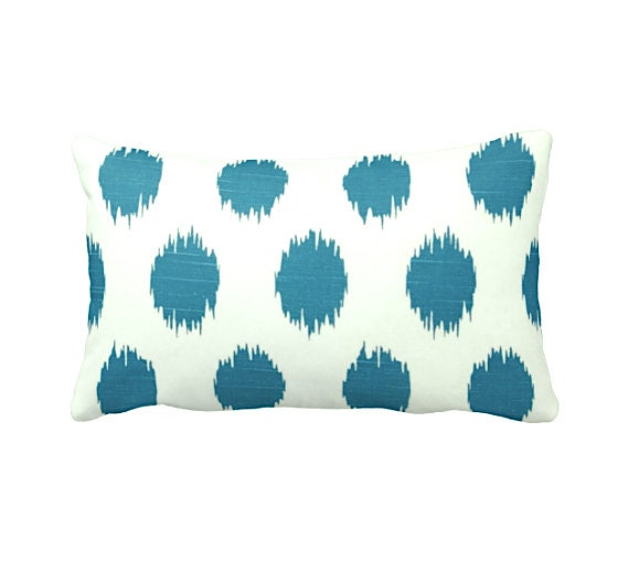 7 Sizes Available: Teal Pillow Cover Decorative Pillow Ikat