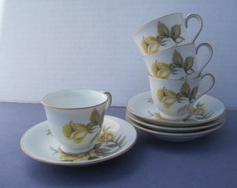 Four Smaller Sized Harmony House Yellow Rose Teacup and Saucer Sets