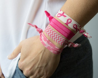 Breast Cancer Awareness Hair Ties, Pink Ribbon Hair Ties, Elastic Hair Ties, Pink Hair Ties