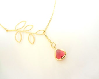 July Birthstone Necklace, Red Teardrop Necklace, Gold Leaf Lariat, Silver Leaf Necklace, Silver Lariat Necklace