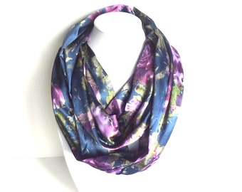 Floral Infinity Scarf,  Satin Scarf, Silky Scarf, Mothers Day Gift, Royal Blue and Purple Scarf, Printed Scarf, Spring Scarf
