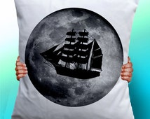 Ship Pirate Moon - Cushion / Pillow Cover / Panel / Fabric