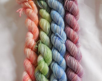 Variegated Mini Set Hand Dyed Superwash Merino/ Nylon/ Stellina Sock Yarn